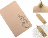 Beatrix Potter Peter Rabbit Hand Stamped Small Moleskine Notebook and Bookmark with Charm