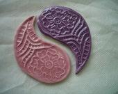 KW - Flower Stamped YIN-YANG - Ceramic Mosaic Tiles