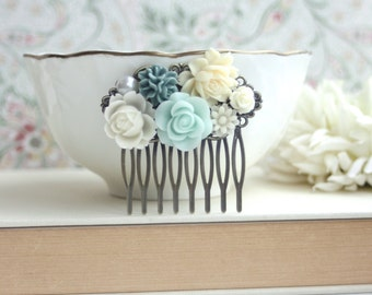 Mint Green Rose, Cream Flowers, Pearl, Cream White, Dusky Blue, Flower Hair Comb. Bridesmaid Gift. Mint Green Wedding. Bridal Summer Wedding