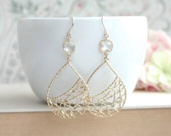 Modern Gold Bohemian Earrings, Boho Chic, Modern Large Teardrop, Everyday Earrings, Bridesmaids Gifts, Matt Gold Earrings, Leaf Jewelry, BFF