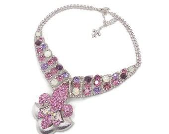 Fleur-de-Lis Pink Rhinestone Bib Necklace - Purple Silver Bling - Vintage Assemblage, Bohemian, Boho Statement