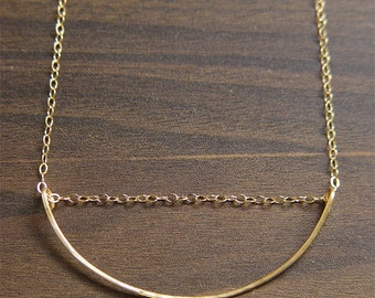 SALE Geometric Moon Gold Necklace