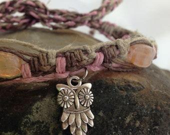Hemp Macrame Bracelet, Anklet or Choker Necklace - Owl - Beaded - Adjustable - 6 1/2  to 12 1/2 Inches - Unique Hemp Jewelry