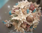 Beach Wedding Bridal Bouquet of Shells and Starfish (St. Ives Serendipitous Style Aqua). Made to Order Custom Details
