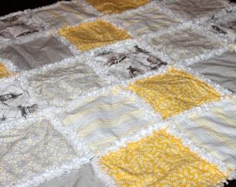 Organic Unisex Rag Quilt, Baby Blanket, White, Gray, Yellow, Vintage, Paris, Rag Quilt, Nursery, Layette, Girl, Boy, Made to Order