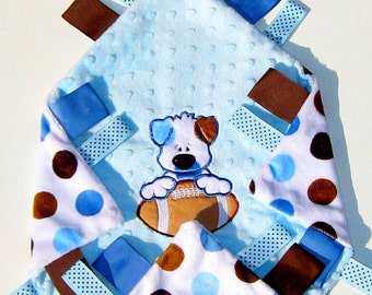 Personalized baby boy security blanket, polka dot lovey, monogrammed blankie, tag along baby blanket