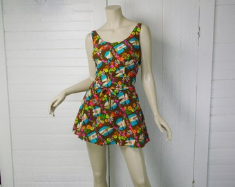 60s Psychedelic Playsuit in Neon & Brown- 1960s Swimsuit / Mini Dress- Medium / Large