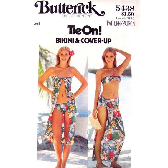 Womens Bikini Pattern & Beach Cover Up Pattern Butterick 5438 Bandeau Bikini Top Bathing Suit Womens Sewing Pattern Size 8 10 UNCUT
