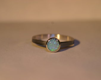 Custom Oxidized Sterling Silver Ring with 6mm Cabochon - 26 Gemstone Choices - Made to Order
