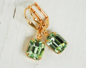 Peridot Earrings Rhinestone Emerald Jewel Crystal Garden Wedding Chrysolite August Birthstone