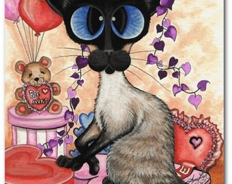 Siamese Cat Valentine Be Mine Hearts - Fine Art Prints by Bihrle ck251