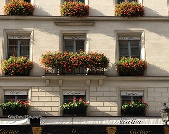 Paris Flower Window Boxes, Paris Photography, Paris Windows, Paris Cartier Shop, Paris Flower Boxes Print, Paris Architecture, Paris Decor