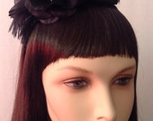 Headband-Fascinator Turquoise Feathered with Flower Embellished Headband