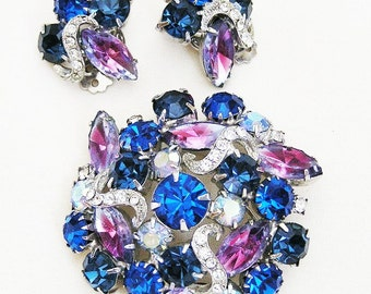 Weiss Unsigned. Blue and Pink Art Glass Demi Parure