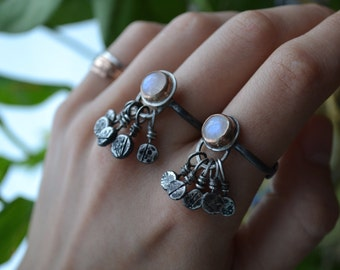 Shipwreck Ring in moonstone, gold, and silver
