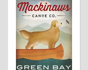 CUSTOM PERSONALIZED Golden Dog Canoe Company Golden Retriever Canoe Ride Print Signed