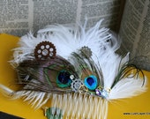 Steampunk  Bridal Comb - White and Peacock with Gear and Rhinestone Accents