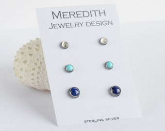 sterling silver stud earrings moonstone, turquoise, and lapis trio three pairs