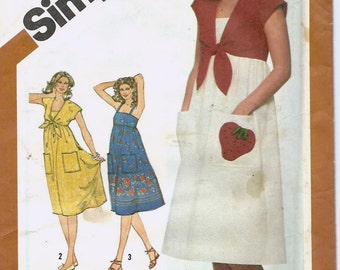 Uncut, Misses Size 6-8, Vintage Sewing Pattern, Simplicity 5139, Sundress Dress, Bolero Jacket, Strawberry Applique, Pockets, Border Fabric