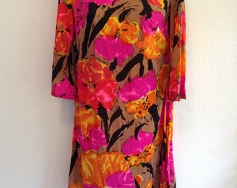 Vintage 1960 Floral print dress. New old stock.  Mod print.  Ruth Walter design.