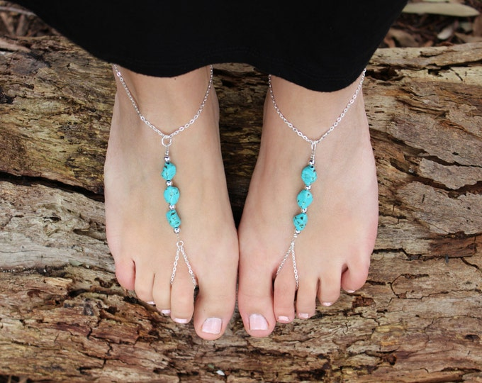 Turquoise Nugget Slave Chain Barefoot Sandals.