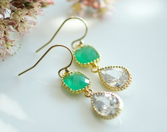 Emerald earrings, May birthstone jewelry, Emerald green earrings, Emerald wedding, may birthstone earrings, green and white wedding