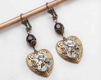 Steampunk Earrings with silver watch movement on Celtic gold heart drop & Vintage black crystal beads, filigree dangle earrings jewelry gift