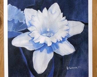 flower art, daffodil art print, botanical watercolor painting, blue flowers, floral decor
