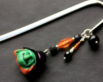 Halloween Bookmark. Beaded Bookmark. Witch Bookmark. Book Hook Bookmark. Handmade Book Charm.