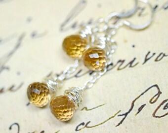 Citrine Earrings, Genuine Citrine Jewelry Champagne Gemstone Earrings Artisan Jewelry Wire Wrapped Beaded Earrings Neutrals Cascade Earrings