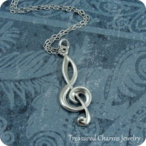 Treble Clef Necklace, Sterling Silver Treble Clef Charm on a Silver Cable Chain