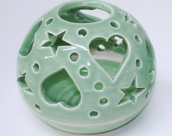Ceramic Candle Holder Love Heart Candleholder, Minty Sage Handmade Pottery Candileria / Pastel Home decor Hostess gift