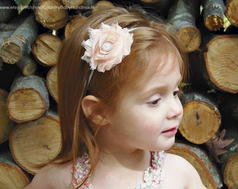 Baby Headband Blush and Pearl