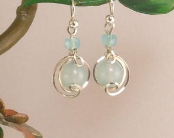 Light Blue Small Sterling Silver Drop Earrings, Blue Chalcedony Wire Wrapped Dangle Earrings, Argentium Silver Light Blue Stone Earrings