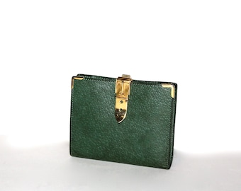 GUCCI Vintage Wallet Bi-Fold Green Brown Leather Belt Buckle Coin Purse  - AUTHENTIC -