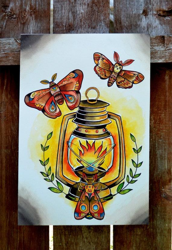 Tatuaggio tradizionale falena lanterna print di floodingfactory