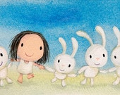 dances with rabbits - bunny rabbit print dancing rabbit dancing art blue wall art cute baby gift kawaii bunny bunny art kids playroom art