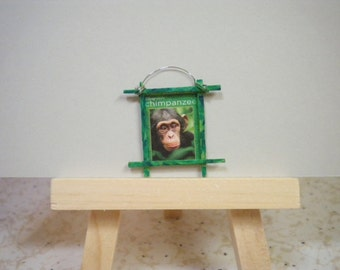 Miniature Framed Picture of Chimpanzee Movie Poster for Dollhouse or Collecting