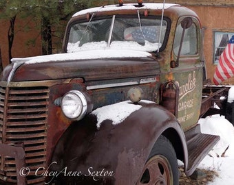 Rusty Old Delivery Chevrolet Pickup Taos New Mexico Americana flags photograph 6x10