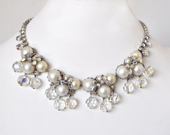 Stunning Vintage Pearl Rhinestone Choker Necklace