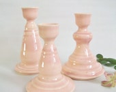 Pink Candlestick Holders - Set of 3