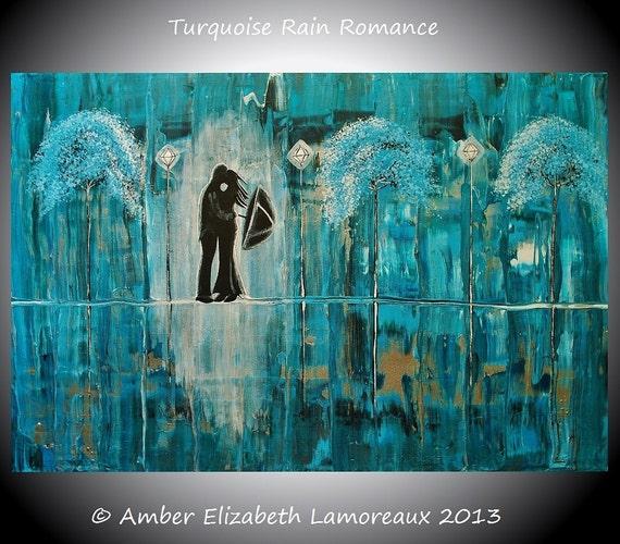 Fine Art Giclee Print of Original Painting Turquoise Rain Romance Amber Elizabeth Lamoreaux Impasto Blue Green Rain Couple Romance