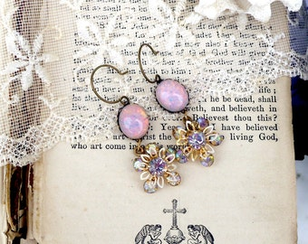 Twinkle Pink, Vintage Fire Opal Pale Pink Glass Opals & Vintage Aurora Borealis Austrian Crystal Flowers Altered Assemblage Earrings