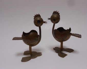 """Modernist Chickens """"TAXCO"""" Mixed Metal Mid Century Ashtray Pair- Gorgeous, Silly, And Unique"""