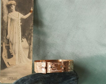 Antique Edwardian  Etched Rose Gold Filled Buckle Bracelet  Sale was 59.00