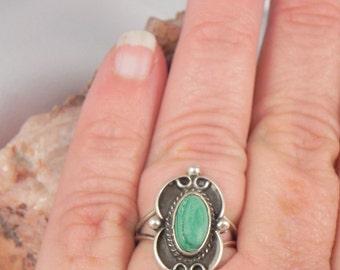 Native American Malachite Sterling Silver Ring