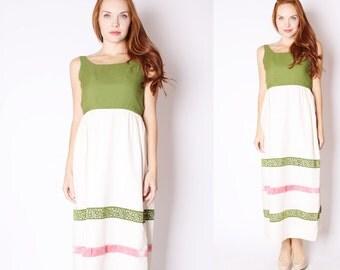 Vintage 1960s Dress - Vintage Maxi Dress  - 60s Wedding Dress - Pink and Green Dress - 2557