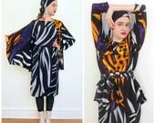 Vintage 1980s Zebra Stripe Jacket Skirt Scarf Set / 80s Designer Animal Print Ensemble Yolanda Lorente Hand Painted Silk