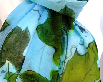 silk scarf hand painted unique Kudzu sage green chartreuse sky blue extra long chiffon wearable art