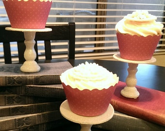 Glittery White Mini Wooden Cupcake Stands Set of 3